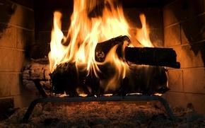 Картинка огонь, дрова, камин