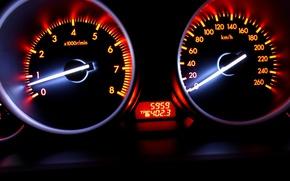 Картинка скорость, размытие, Спидометр, автомобиль, сочные цвета