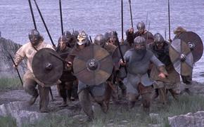 Картинка Щит, Атака, Скандинавия, Викинги, Копья