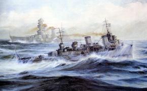 Картинка море, волны, брызги, корабль, масло, картина, арт, флот, холст, лидер, линейный, Великая отечественная война, «Севастополь», …