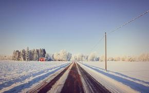 Картинка дорога, снег, деревья, дом, house, road, trees, snow, линии электропередачи, power line