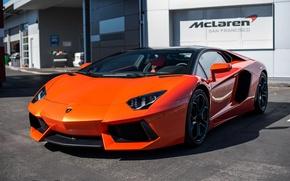 Картинка Lamborghini, orange, Aventador, San francisco