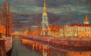 Картинка город, масло, живопись, Санк-Петербург
