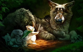 Обои испуг, волк, кролик