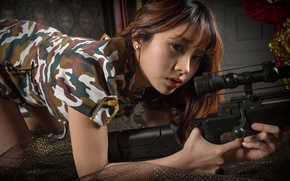 Обои взгляд, девушка, азиатка, лицо, снайперская винтовка, камуфляж