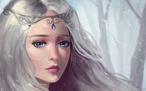 Картинка взгляд, синие глаза, снег, арт, грусть, волосы, украшение, девушка, фэнтази