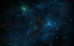 Обои космос, туманность, lights, огни, сияние, узоры, звёзды, арт, space, universe, россыпь, nebula, art, glow, stars, ...