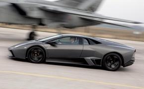 Обои Lamborghini Reventon, истребитель, черный