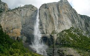 Картинка пейзаж, водопад, USA, Yosemite, California