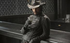 Обои Westworld, gunslinger, robot, farowest, revolver, assassin, scar, hat, Brazil, human, man, saloon, fantasy, TV series, ...