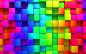 Обои рендеринг, фон, кубы, кубики, colors, colorful, cubes, geometry