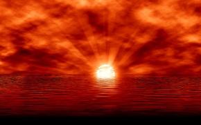 Картинка море, небо, солнце, облака, лучи, закат, отражение