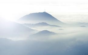 Картинка облака, свет, горы, туман, холмы, антенна