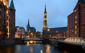Обои мосты, дома, Германия, огни, канал, вечер, фонари, Hamburg