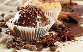 Картинка кофе, еда, шоколад, зерна, десерт, выпечка, сладкое, кексы, пряности, анис