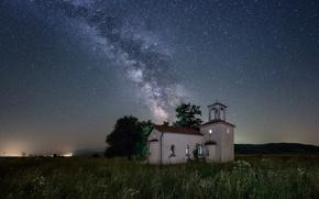 Картинка поле, звезды, свет, дерево, Млечный Путь, Болгария, София, тайны, Санкт Церковь Петра и Павла