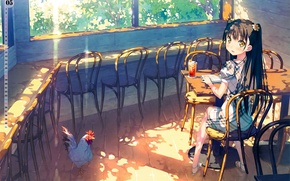 Картинка солнце, стол, окна, стулья, курица, май, девочка, веранда, by kantoku