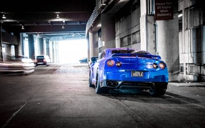 Картинка синий, тень, размытие, nissan, автомобили, ниссан, blue, gt-r, задок, r35