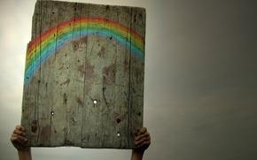 Картинка небо, радуга, дощечка