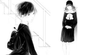 Картинка девушки, арт, лестница, форма, бант, школьницы, рюкзак, Sawasawa