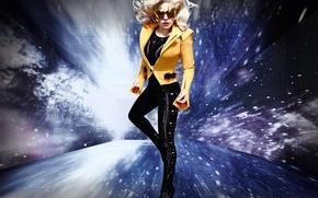 Обои стиль, Леди Гага, girl, девушка, black, музыка, женщина, космос, women, space, Lady Gaga, мода, актриса, ...