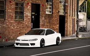 Картинка S15, Silvia, Nissan, white, front, VOLK