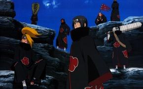 Картинка небо, меч, коса, Itachi, ninja, Akatsuki, Deidara, Naruto Shippuden, Tobi, Hidan, Kisame, Zetsu, Наруто Ураганные …