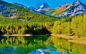 Картинка осень, небо, деревья, горы, природа, озеро, отражение, Канада, Альберта, Кананаскис