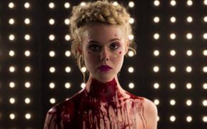 Картинка кадр, триллер, ужасы, Elle Fanning, Эль Фаннинг, Неоновый демон, The Neon Demon