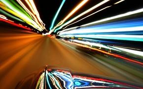 Обои огни, скорость, машина