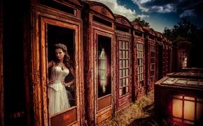 Картинка fantasy, vintage, retro, model, bride, corset, Lucy Scarfe, kiosk, phonebox, storytelling