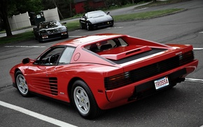 Картинка Красный, Авто, Машины, Ferrari, Красота, Номер, Testarossa