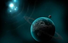 Обои звезда, астероиды, Планета