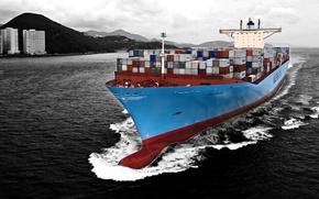 Картинка Вода, Море, Синий, Судно, Контейнеровоз, Бак, Черно-белое, Контейнера, Maersk, На Ходу, Edith, Бульб