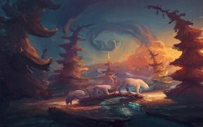 Картинка лес, облака, деревья, река, медведи, белые медведи