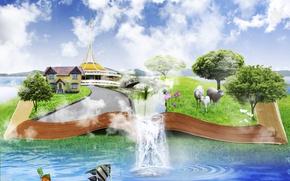 Картинка небо, вода, облака, деревья, рыбы, цветы, овцы, водопад, луг, книга, домик, 3d