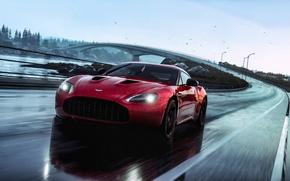Картинка Aston Martin, Red, Car, Speed, V12, Rain, Road, Zagato