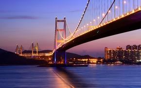 Картинка море, ночь, мост, огни, Гонконг, освещение, Сянган
