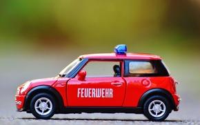 Обои красный, игрушка, мини купер, авто, модель, моделька, автомобиля