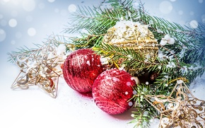 Картинка шарики, Новый Год, ветка, ель, снег, праздники, красные, елочные, игрушки, новогодние, шары, Рождество, звезды