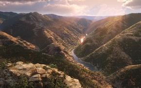 Картинка cinema, rock, sunshine, Disney, river, sky, landscape, stone, cloud, tree, sun, movie, animal, valley, leaf, …