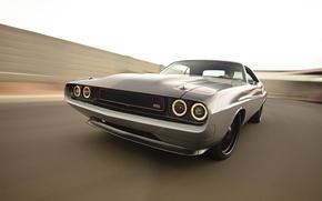 Обои небо, фары, тюнинг, скорость, Dodge, Challenger, мускул кар, додж, tuning, 1970, передок, Muscle car, челенжер, ...