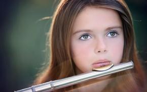 Картинка портрет, девочка, флейта