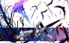 Картинка птицы, ленты, аниме, арт, vocaloid, hatsune miku, вокалоид, miku append, nako, девушка перья