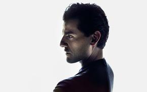 Обои Time, белый фон, Оскар Айзек, актер, профиль, Marc Grob, Oscar Isaac, портрет