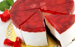 Картинка ягоды, роза, еда, лепестки, клубника, десерт, сладкое, желе, тот