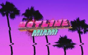 Картинка Пальмы, Розовый, Фиолетовый, Hotline Miami
