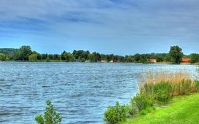Картинка природа, река, берег, дома, Германия, Hungen