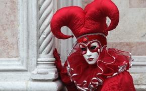 Картинка красный, маска, Венеция, карнавал