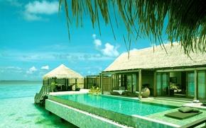 Картинка океан, бассейн, Мальдивы, бунгало
